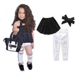 ins 三件組 白色 刷破 牛仔褲 破洞 刷鬚 黑色 一字領 荷葉 上衣 背心 小可愛 髮帶 歐美 女童 套裝 點點 ANNA S.