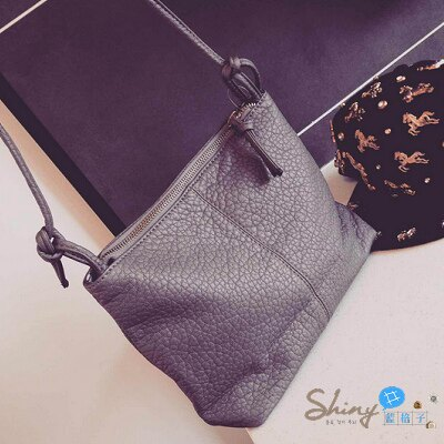 【P028】shiny藍格子-復古簡約‧夏季新款迷你小包軟皮質水洗皮單肩斜跨包