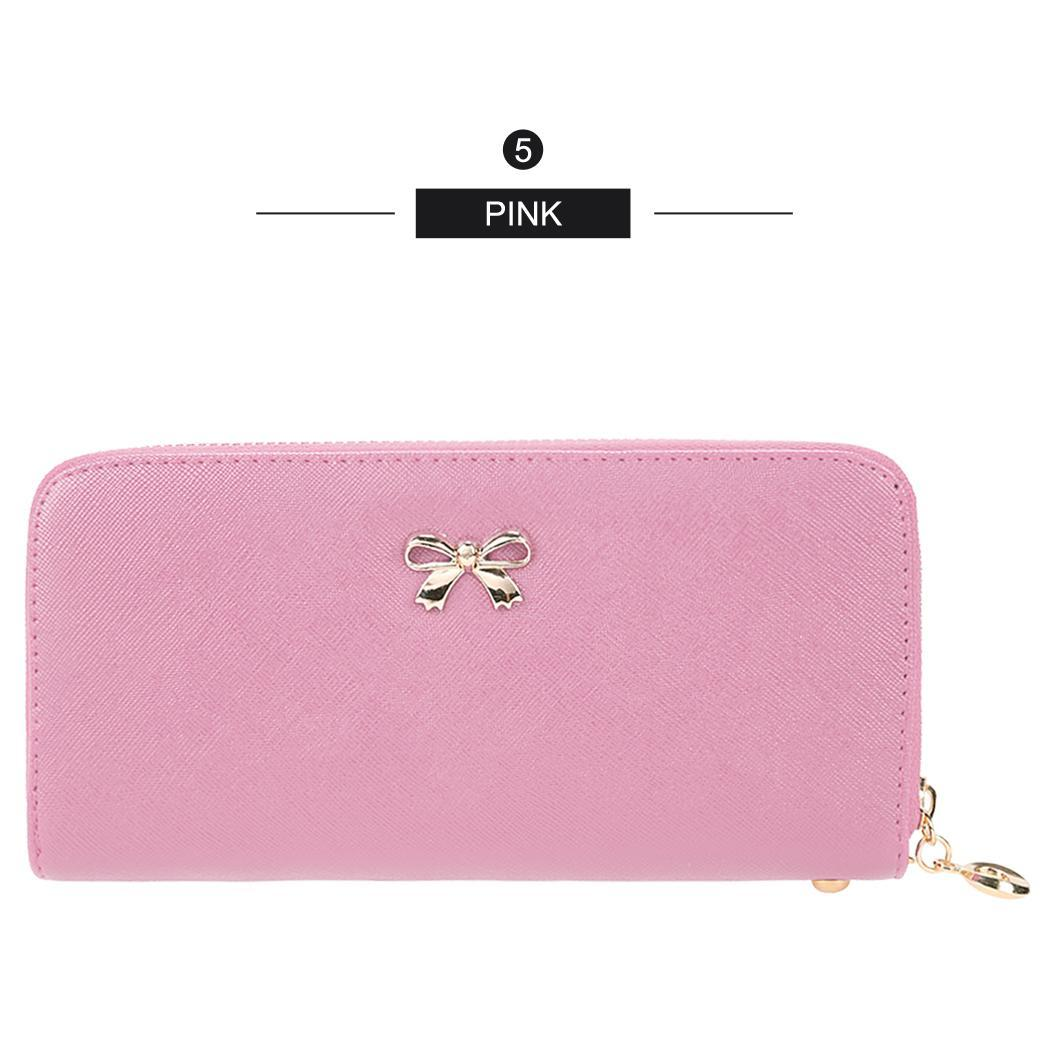 Synthetic Leather Zip Around Solid Purse Credit ID Card Holder Long Clutch Wallet with Wrist Strap 4