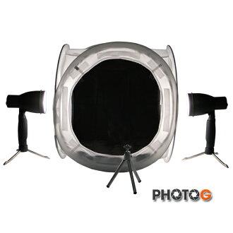 SIB077 40公分 攝影棚套組 含兩色背景布 網拍必備 7W白光燈*2 桌上型腳架