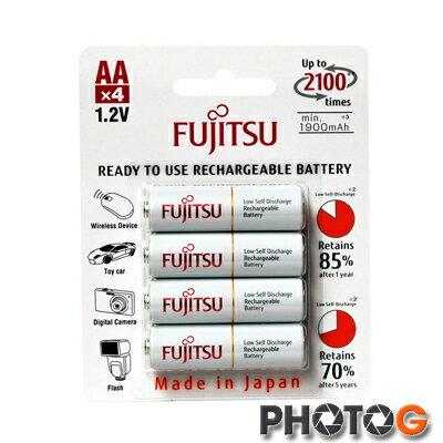 日本富士通 Fujitsu   HR-3UTC(4B) 1900mAh  AA 低自放充電電池 一卡 4入    電池日本製