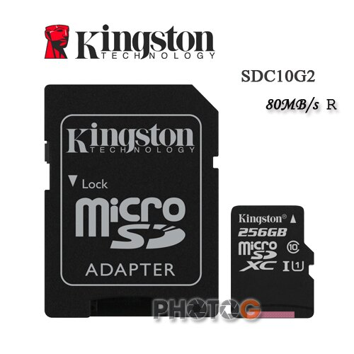 金士頓 KingSton 256G/256GB microSDHC/SDXC 記憶卡 SDC10G2  – Class 10 UHS-I ,終身保固,T-Flash/microSD