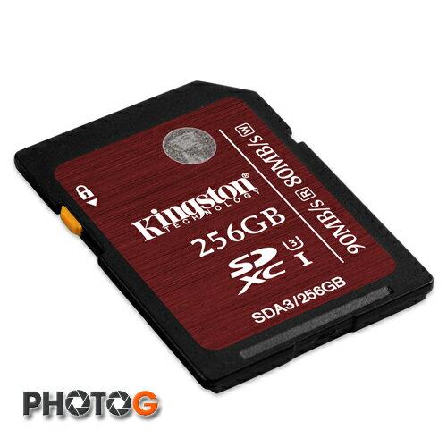 Kingston SDA3  SDXC 256GB 256G class 10 UHS-I U3 讀90mb/S 寫80mb/s 終身保固
