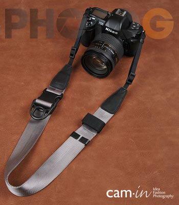Cam-in Camin 忍者相機背帶 8801 灰色  速調 寬版 38mm 單車逸品 600D/7D/5D/D700/D800/D5100/A77/SONY