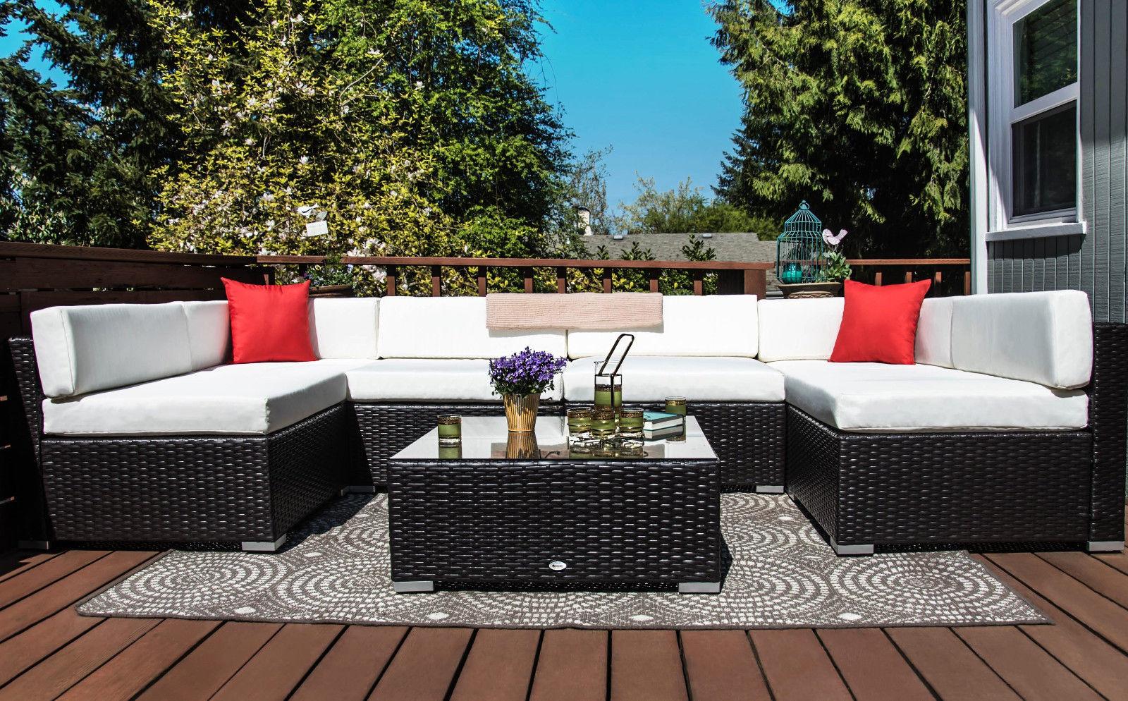 Outsunny 7 Piece Outdoor Patio Rattan Wicker Sofa Sectional Set - Cream 1