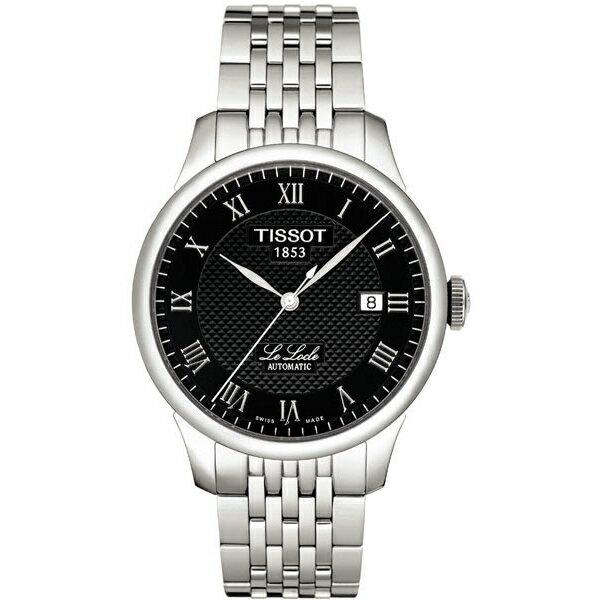 TISSOT天梭T41148353 力洛克經典羅馬機械腕錶/黑面39.3mm