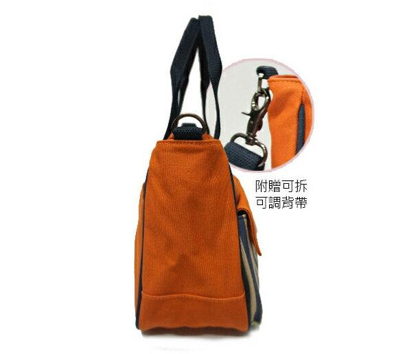 ★CORRE【CG71074】帆布印刷條紋手提斜背包 ★ 藍色/紅色/橘色 共三色 6