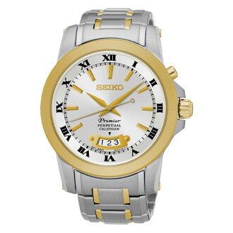Seiko Premier 6A32-00X0K(SNQ148J1)雙色萬年曆經典羅馬石英腕錶/白面41mm