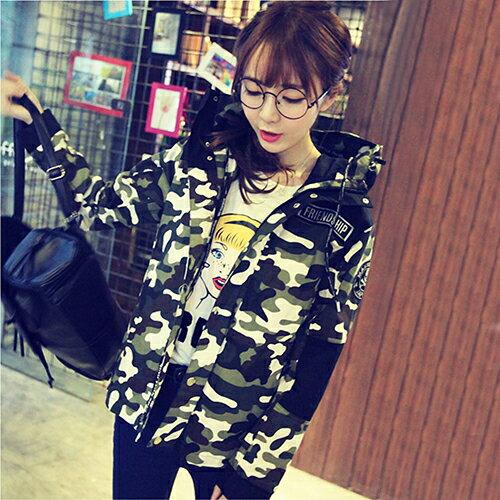 印花風衣連帽休閒學生韓版外套 (2色,S~XL) 【OREAD】 1