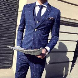 FINDSENSE H1男士 清爽 兩扣 西裝 經典 格子 彈力面料 修身 馬甲 西褲 三件套 套裝