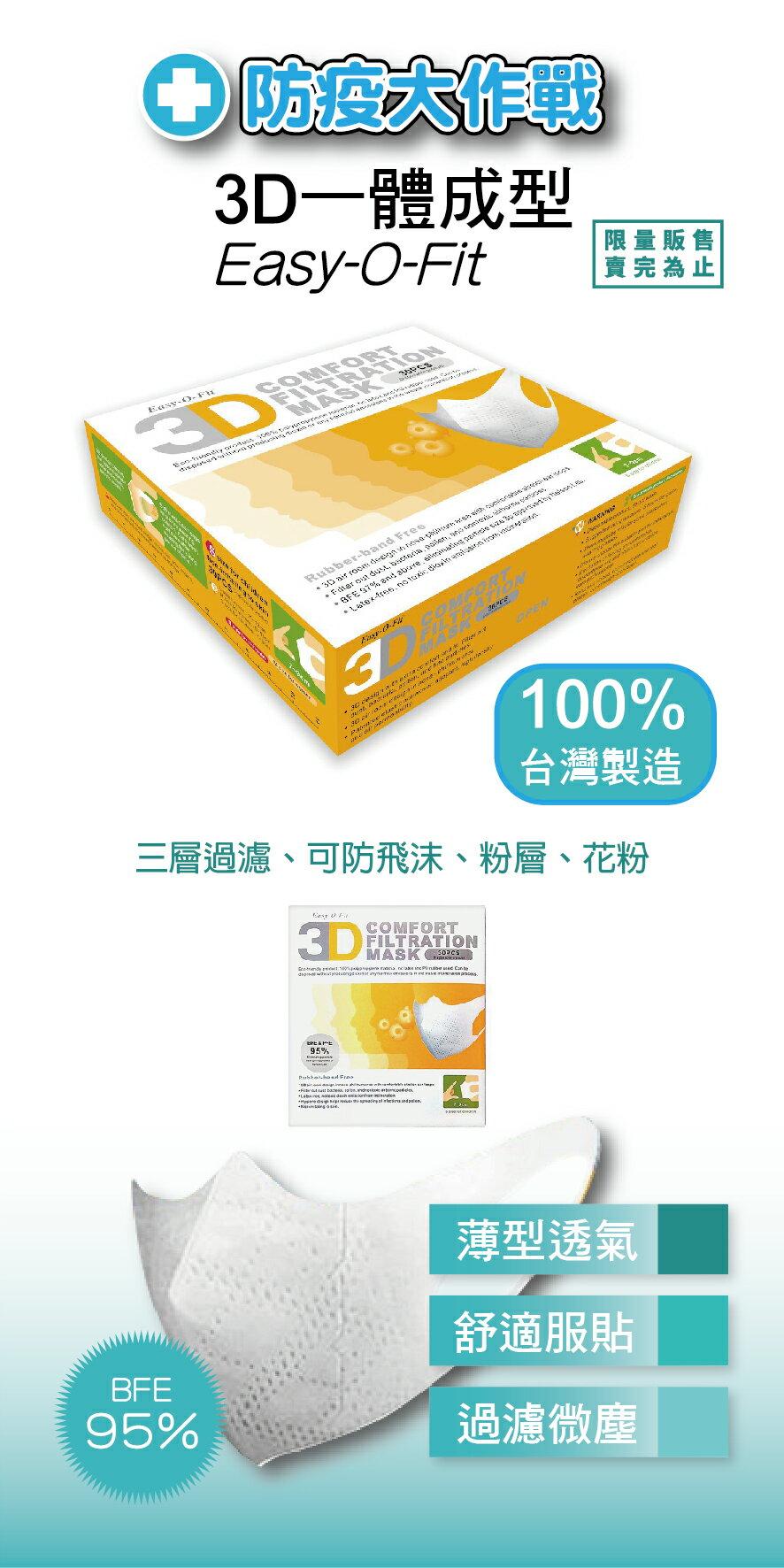 (倒數出清:4入組)台灣製造 時尚白 超服貼3D立體 兒童口罩30片/盒 x 4 盒