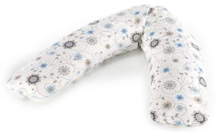 【淘氣寶寶】 德國 Theraline 哺乳育嬰月亮枕 新款180公分 舒適型妊娠及育嬰枕頭/授乳枕/哺乳枕/側睡枕-藍色花朵