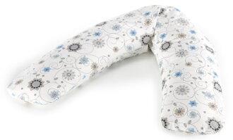 【淘氣寶寶】【德國 Theraline 哺乳育嬰月亮枕 新款上市180公分】舒適型妊娠及育嬰枕頭-藍色花朵