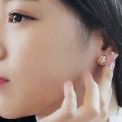 美麗大街【GE401】 爆閃水鑽 氣質百搭冰爽雪花 唯美星星耳釘女耳環