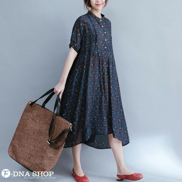 加大尺碼★F-DNA★格紋開扣立領長版短袖洋裝(藏青-L-XL)【HG22011】 2