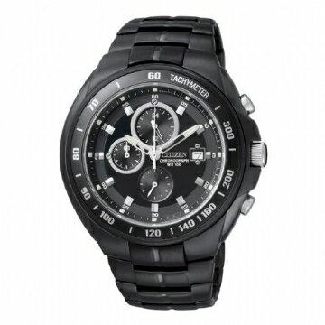 CITIZEN 三眼黑鋼時尚腕錶 AN4019-52E