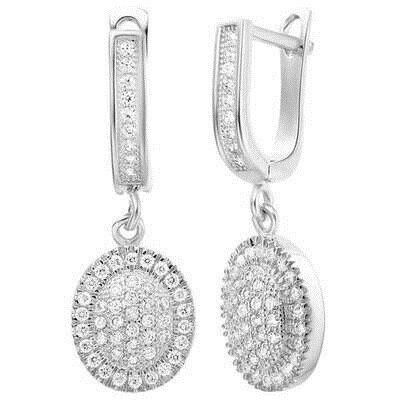 ~純銀耳環鍍白金鑲鑽耳飾~絢麗優雅迷人 情人節生日 女飾品2色73cz12~ ~~米蘭 ~