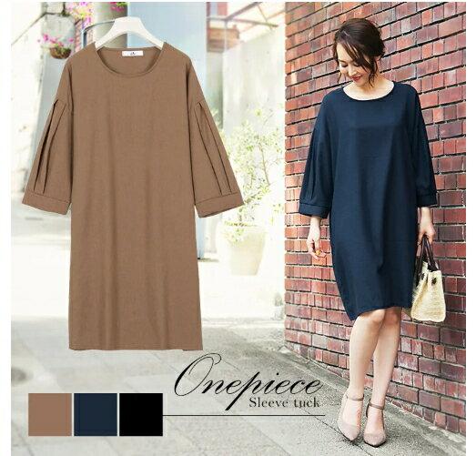 KOBELETTUCE休閒寬版七分袖連身裙CBT-E1907。3色(2490)-日本必買免運代購