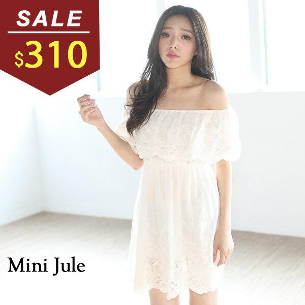 ~ ~洋裝 甜美蕾絲平口縮腰棉麻洋裝 小豬兒 MiNi Jule ~YTI61000898