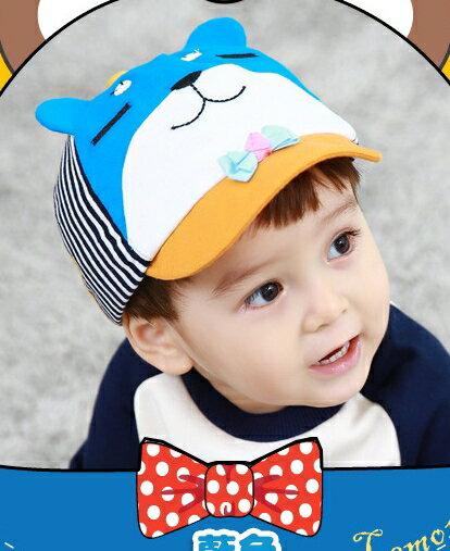 Lemonkid◆可愛紳士眯眯熊立體耳朵造型春秋小鴨舌兒童帽-藍色