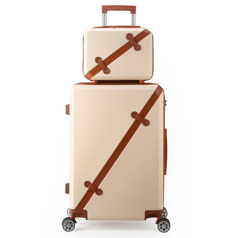 時尚復古20吋行李箱拉杆萬向輪學生旅行箱