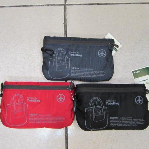 ~雪黛屋~YESON 折疊收納購物肩背袋 可外掛行李箱拉桿上使用 輕便攜帶備用袋 超輕材質F667黑