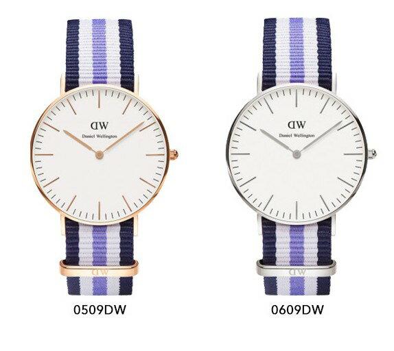 瑞典正品代購 Daniel Wellington 0609DW 銀 玫瑰金 尼龍 帆布錶帶 女錶手錶腕錶 36MM 1