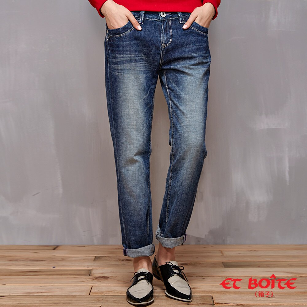 【990元免運】男友風寬鬆刷色牛仔褲 - BLUE WAY  ET BOiTE 箱子 - 限時優惠好康折扣