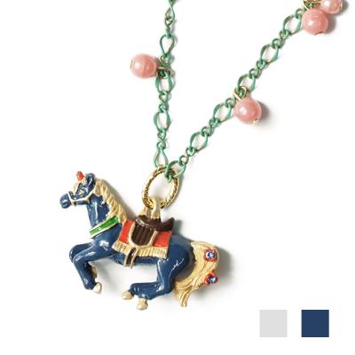 APM:〔APM飾品〕日本Palnartpoc仙林嬉戲皇家獨角獸項鍊(白木馬)(藍木馬)