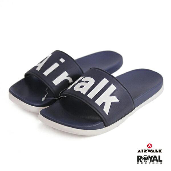 Airwalk新竹皇家藍色白底大字LOGO防水拖鞋男女款NO.B0044