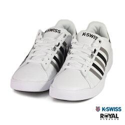 K-SWISS 新竹皇家 PERSHING 白色 黑灰線條 皮質 休閒鞋 男款 NO.B0215