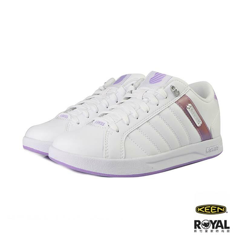 K-swiss Lundahl 白色 皮質 粉紫後跟 休閒鞋 女款 NO.I9683【新竹皇家】