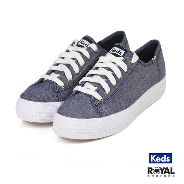 Keds Triple 藍色 布質 增高2.5CM 休閒鞋 女款 NO.I9513【新竹皇家】