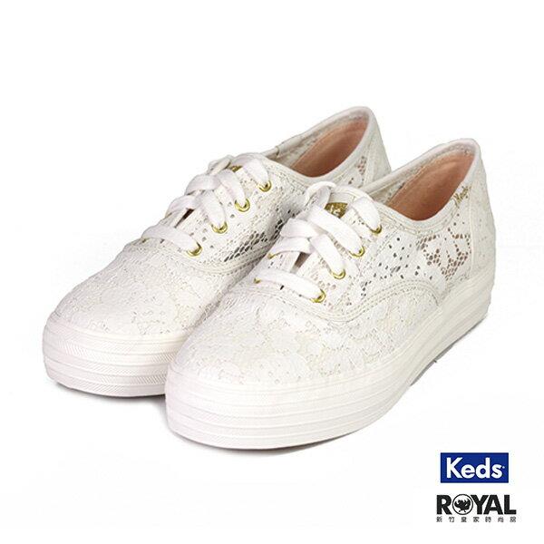 Keds 新竹皇家 Triple 米色 布質 蕾絲 套入式 休閒鞋 女款 NO.I9541