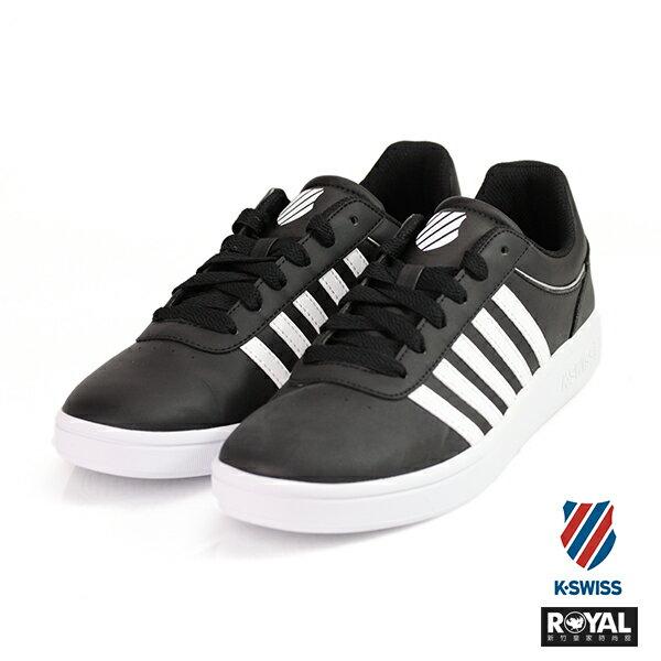 K-SWISS 新竹皇家 Court 黑色 記憶鞋墊 白條紋 皮革 休閒鞋 男款 NO.A9376