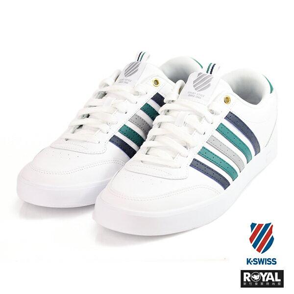 K-SWISS 新竹皇家 Court Lite 白色 記憶鞋墊 藍綠條紋 皮革 休閒鞋 男款 NO.A9420