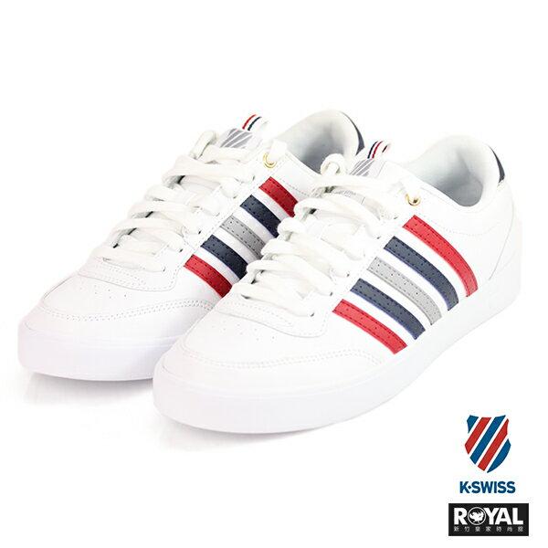K-SWISS 新竹皇家 Court Pro 白色 記憶鞋墊 紅藍條紋 皮革 休閒鞋 男款 NO.A9460