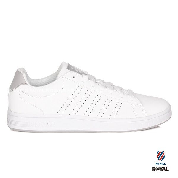 K-SWISS 新竹皇家 Court 白色/灰 記憶鞋墊 皮革 休閒鞋 男款 NO.A9470