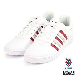 K-SWISS 新竹皇家 Court Gheswick 白/紅色 皮質 休閒鞋 男款 NO.A9540