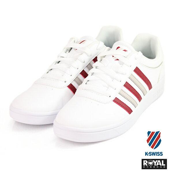 K-SWISS新竹皇家CourtGheswick白紅色皮質休閒鞋男款NO.A9540