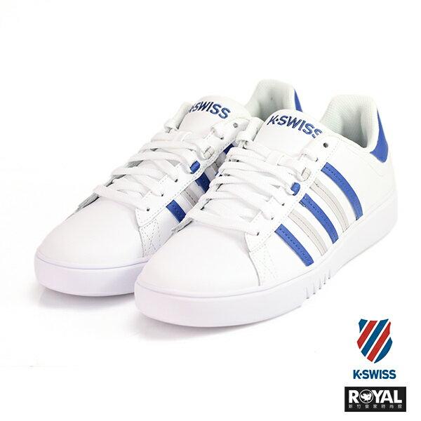 K-SWISS新竹皇家PershingCourt白色藍條紋皮革休閒鞋男款NO.A9617