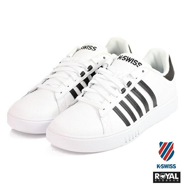 K-SWISS新竹皇家PershingCourt白色黑條紋皮革休閒鞋男款NO.A9632