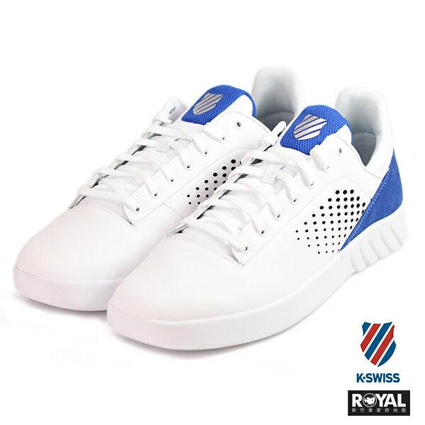 K-SWISS新竹皇家NovaCourt白色藍皮革休閒鞋男款NO.A9700