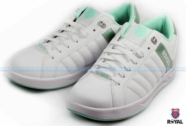 K~SWISS 新竹皇家 LUNDAHL WT S 白  綠 皮質 休閒鞋 女款 NO.I