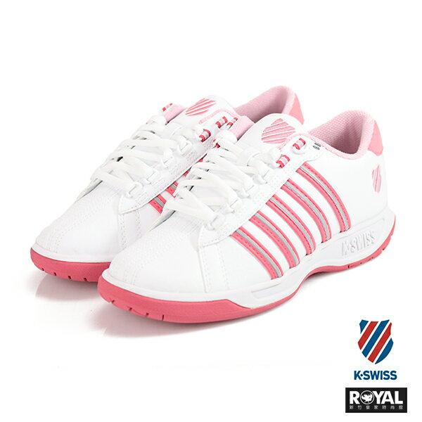 K-SWISS新竹皇家EADALL白色桃紅皮革休閒鞋女款NO.I8299