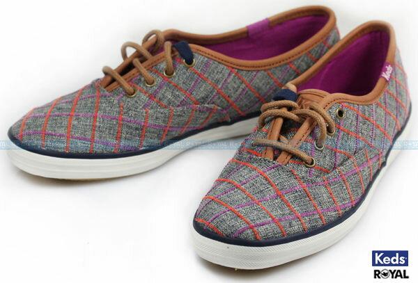 Keds新竹皇家CHWINDOWPANEPLAID灰色窗格粗花呢休閒鞋女款NO.I7040