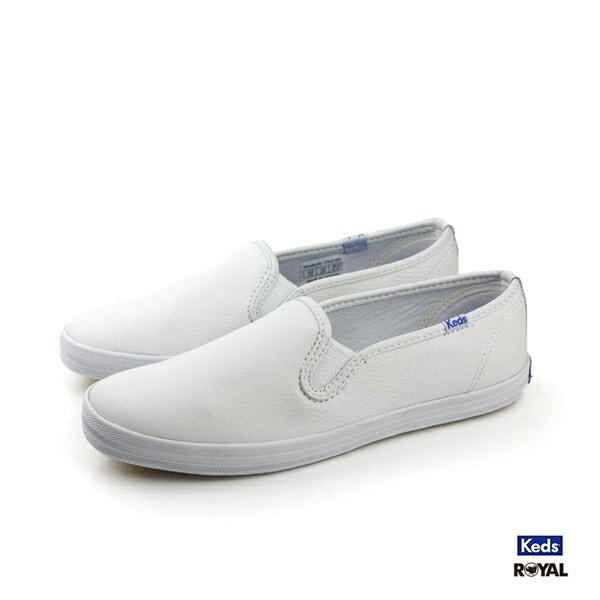 Keds新竹皇家CHAMPION白色皮質懶人鞋女款NO.I8273