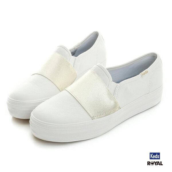 Keds新竹皇家Triple白色厚底金色皮質休閒懶人鞋女款NO.I8291