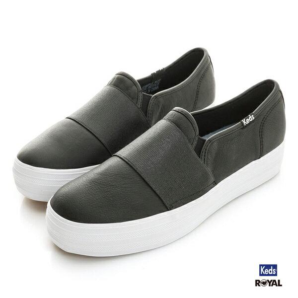 Keds新竹皇家Triple黑色厚底皮質休閒懶人鞋女款NO.I8292