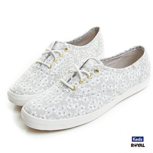 Keds新竹皇家CHFLORAL灰色碎花布質休閒鞋女款NO.I8757